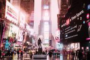 Times Square on rainy night.