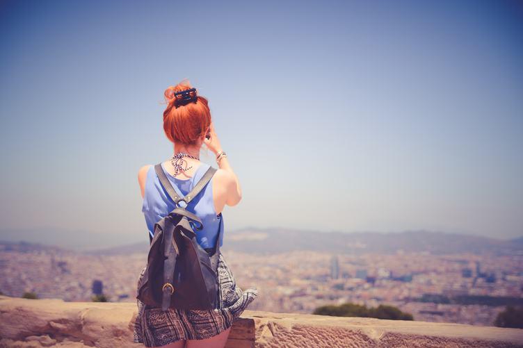 Redhead Tourist Taking Photos