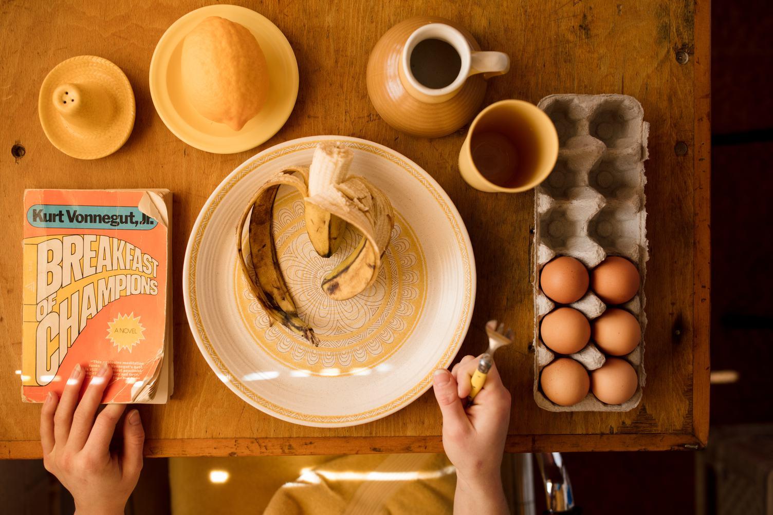 Breakfast Ingredients on Wooden Table