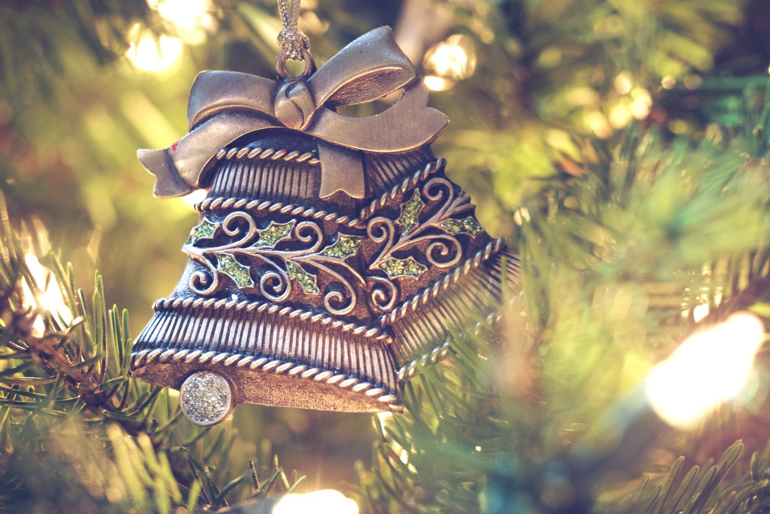 Silver Bells on a Christmas Tree