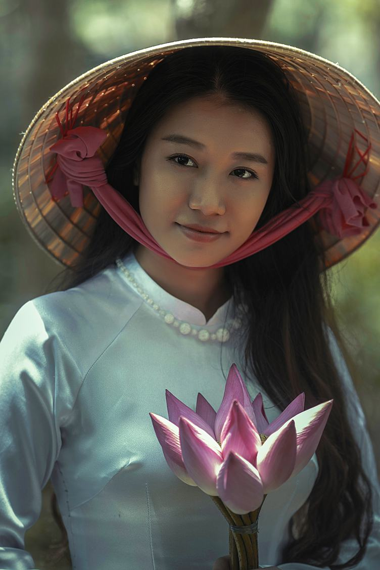 Vietnam Girl with Flowers