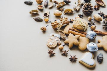 Christmas Composition Cookies, Pinecone, Cinnamon Sticks, Anise Stars