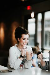 Young Brunette Woman Enjoying Cocktail