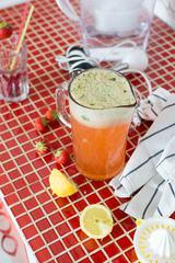 Jug of Homemade Strawberry Lemonade