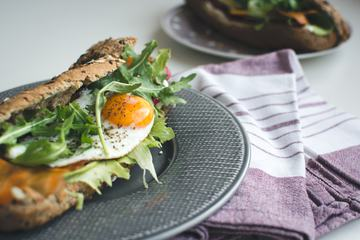 Healthy Homemade Baguette with Egg and Vegetables
