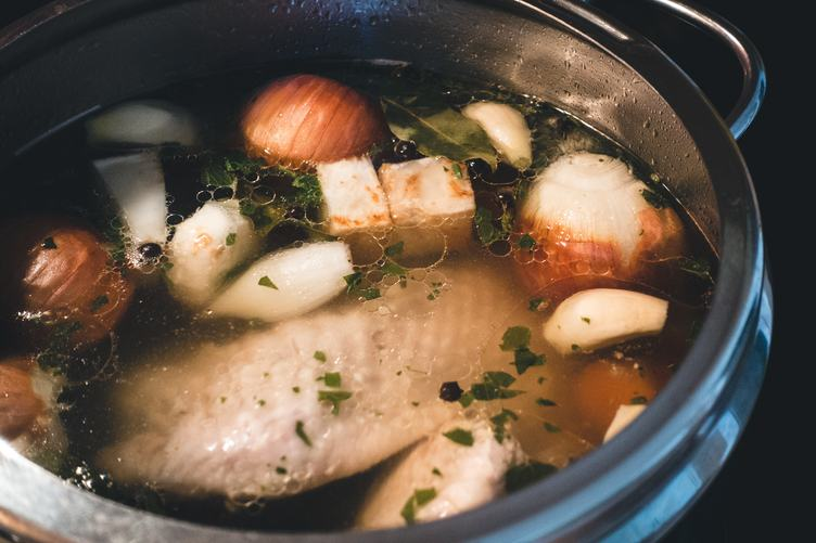 Pot with Chicken Broth