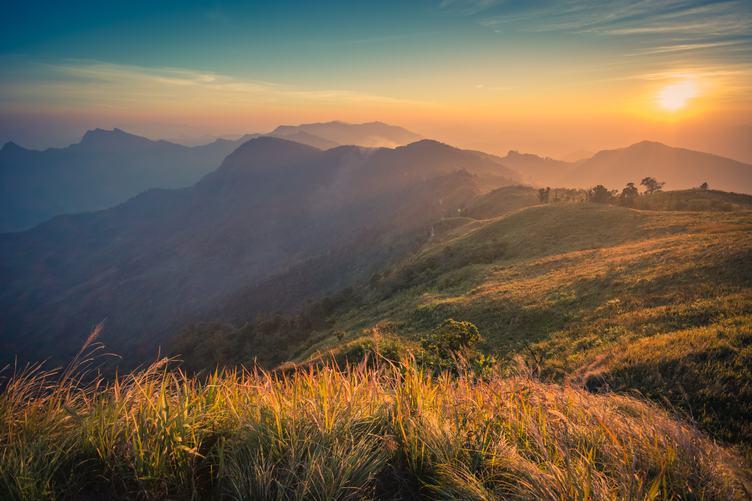 Sunset at Phu Chi Fa, Laos