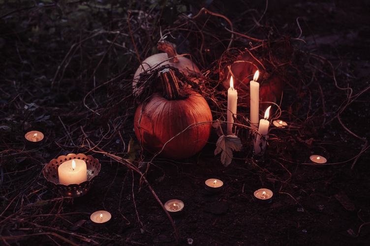 Halloween Outdoors Decoration Candles Burning with Pumpkins