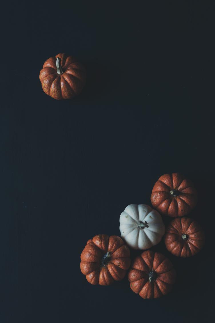 Pumpkins on Black Flat Lay