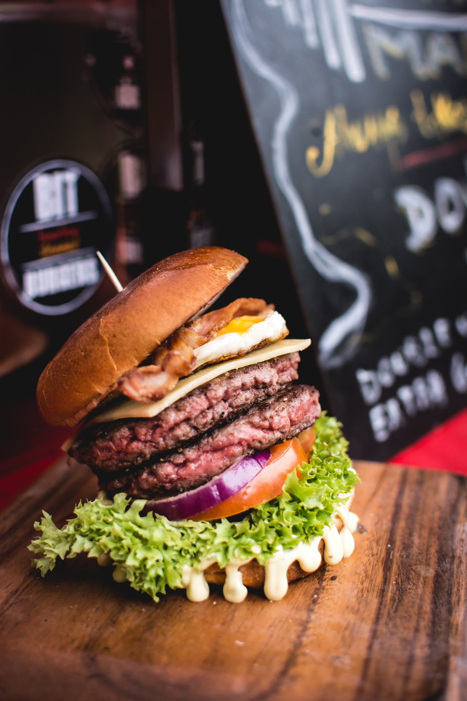 Double Beef Burger with Bacon, Cheddar and Tomato