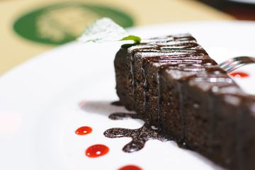 Piece of Chocolate Cake in a Restaurant