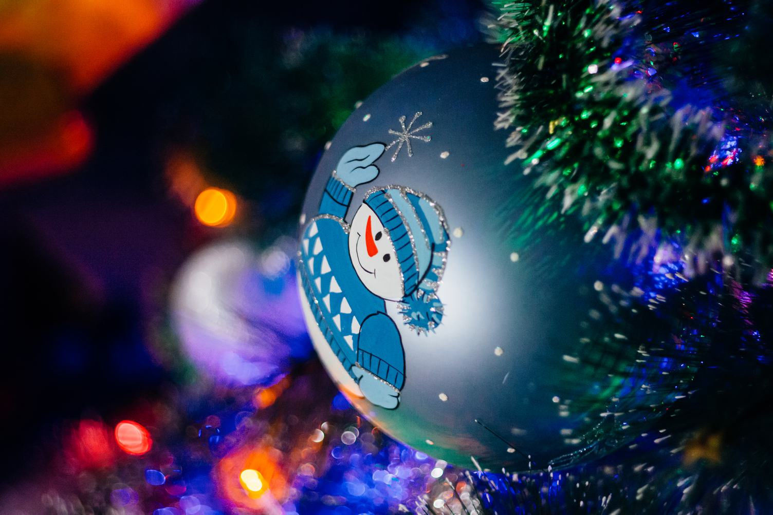 Christmas Tree with Snowman on the Bauble