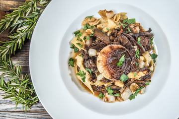 Tagliatelle with Mushrooms and Onions for Dinner