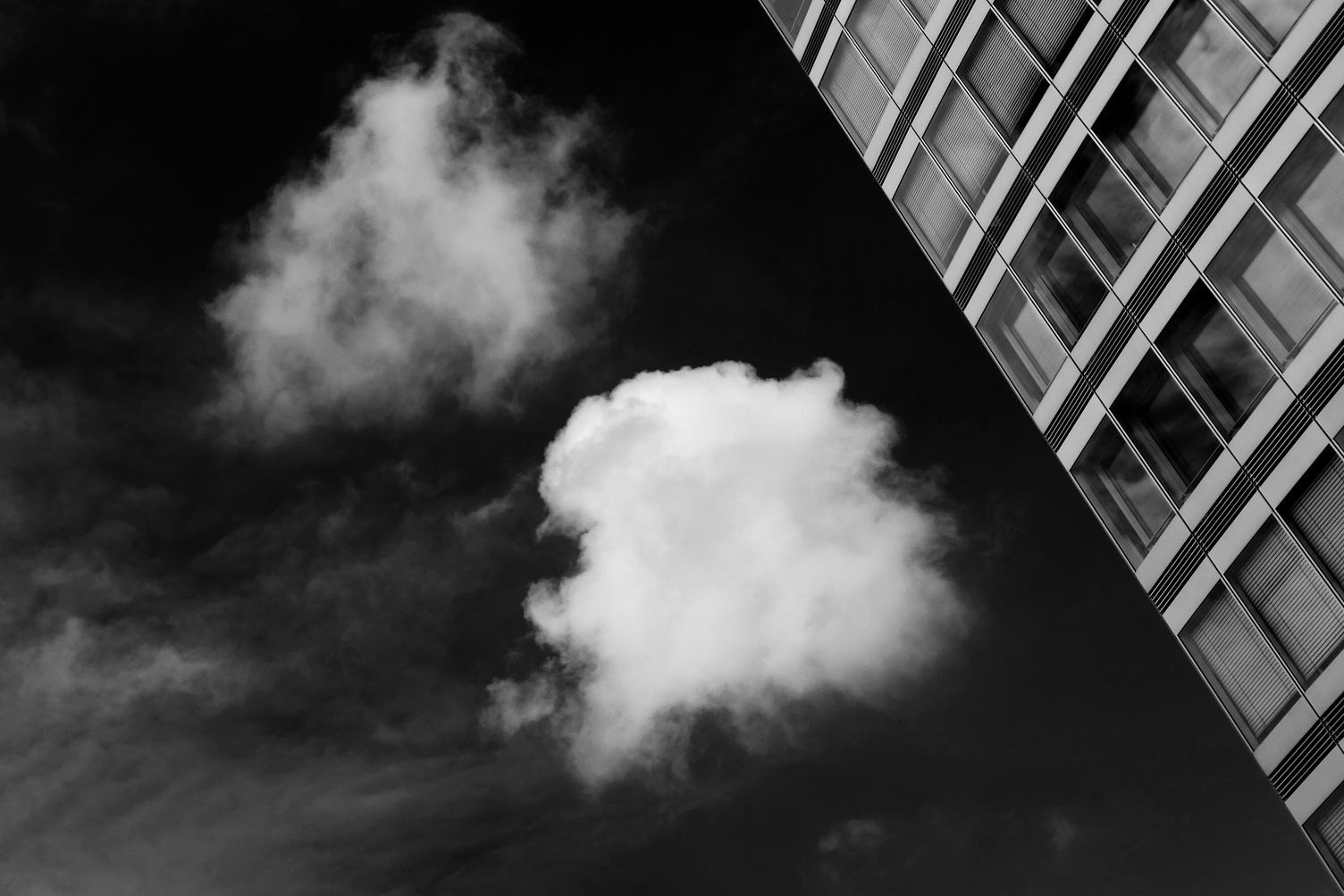 Black and White Abstract Building and Sky
