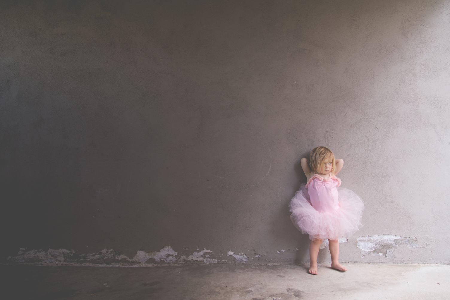 Little Girl in a Pink Ballerina Costume