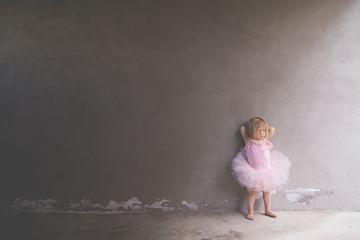 Little Girl in a Pink Ballerina Costume