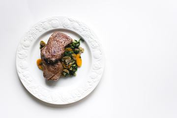 Top View of Beef Steak with Vegetables