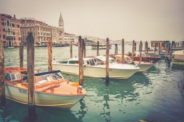Venice Italy View on Canal with Motorboats
