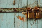 Aquamarine Grunge Door with Two Padlocks
