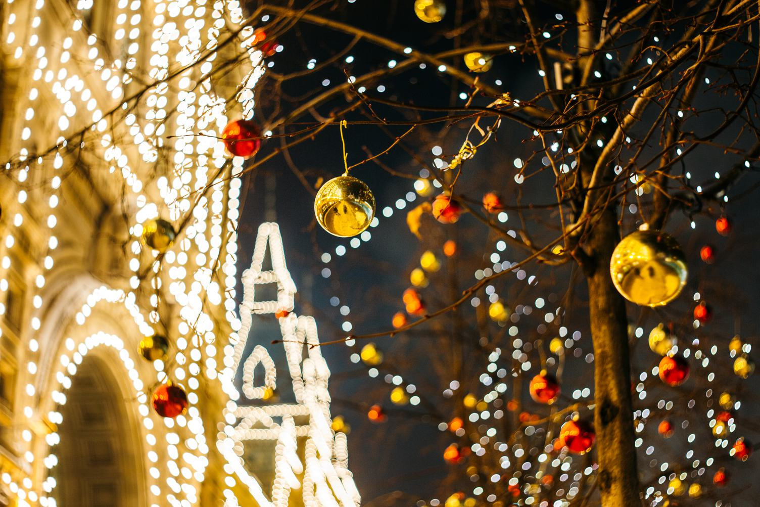 Christmas Decorations in the City at Night