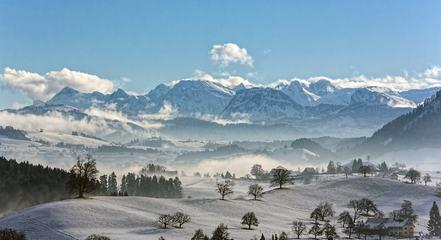 Panoramic View of Beautiful Mountain Landscape Village