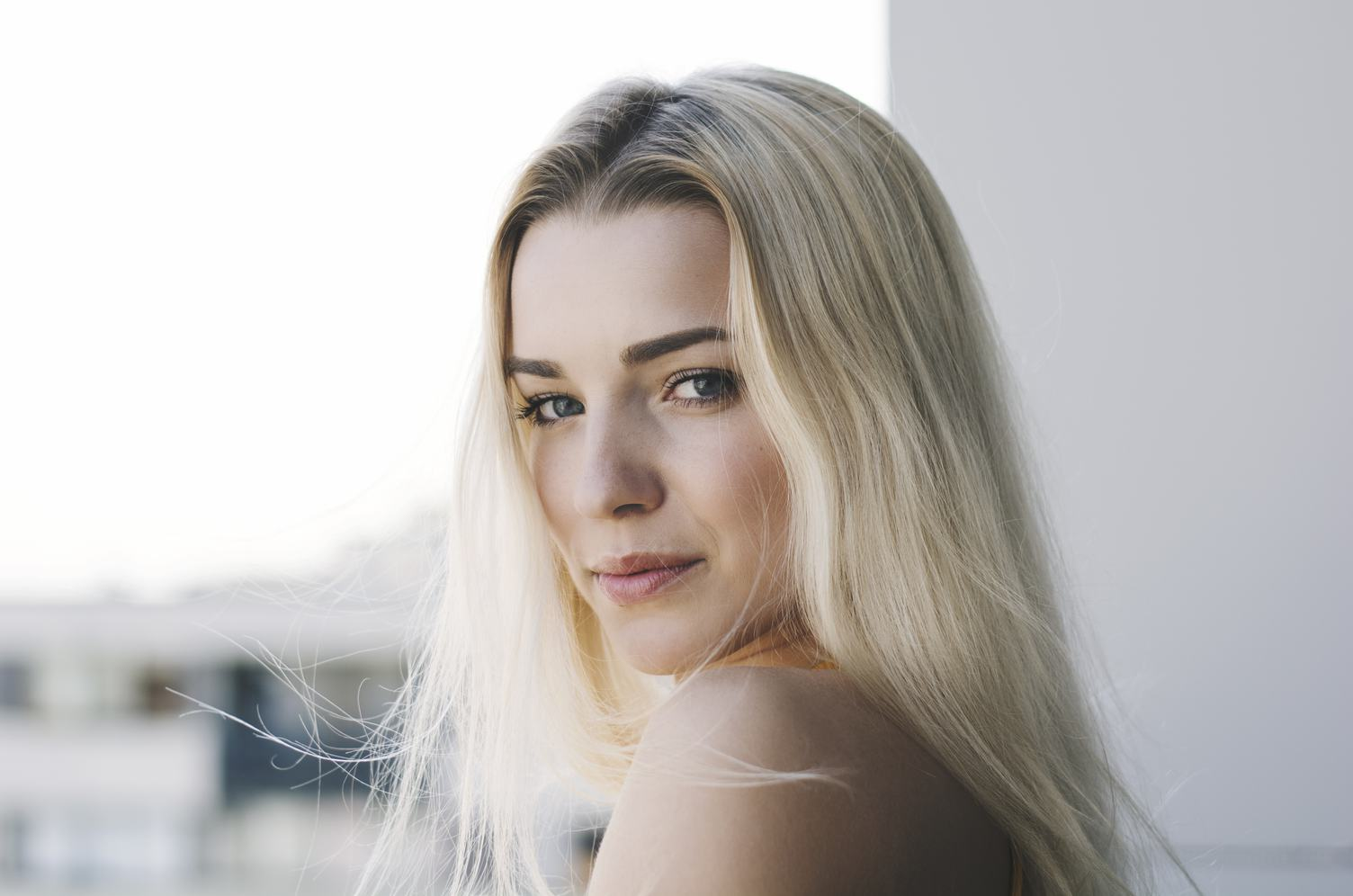 Portrait of a Blonde with Straight Hair