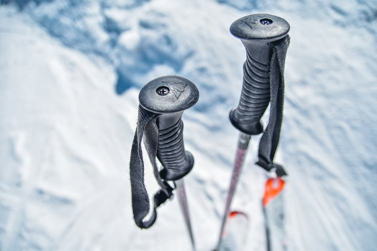 Closeup View of the Ski Poles in the Snow
