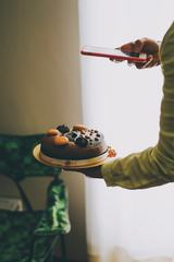 Taking a Photo of Chocolate Cake with iPhonem