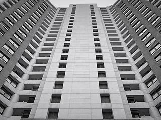 Building Facade in Black and White