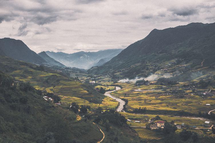Village in the Valley in Vietnam