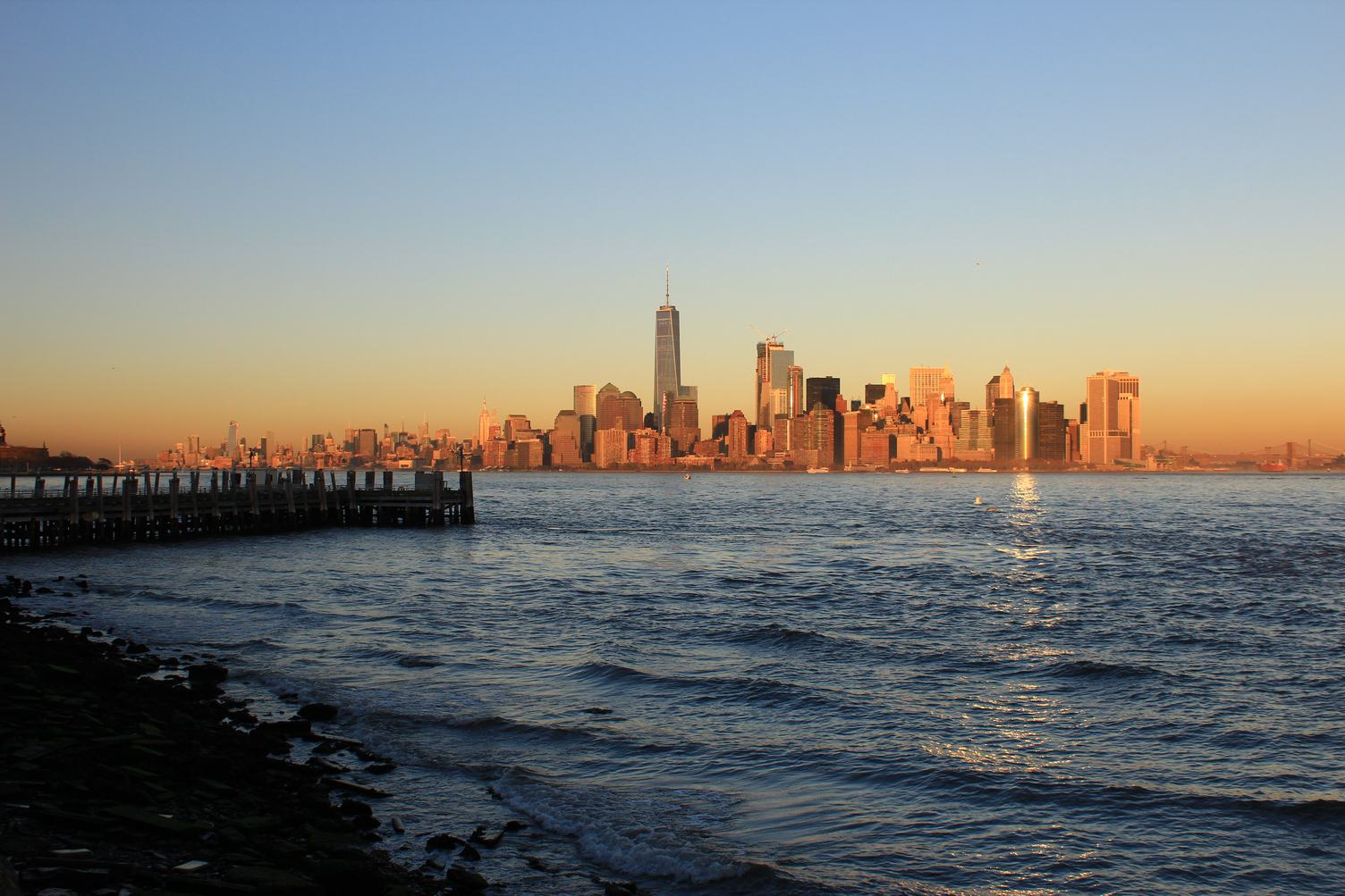 New York City, Sunset at Liberty Island, United States