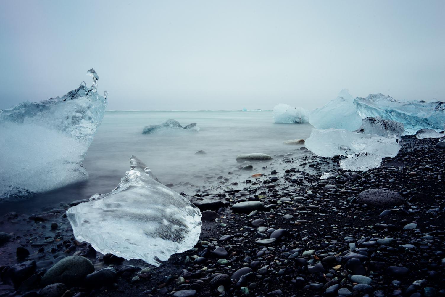 Ice on a Black Sand Beach, Iceland