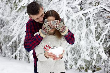 Couple Playing with Snow, Outdoors