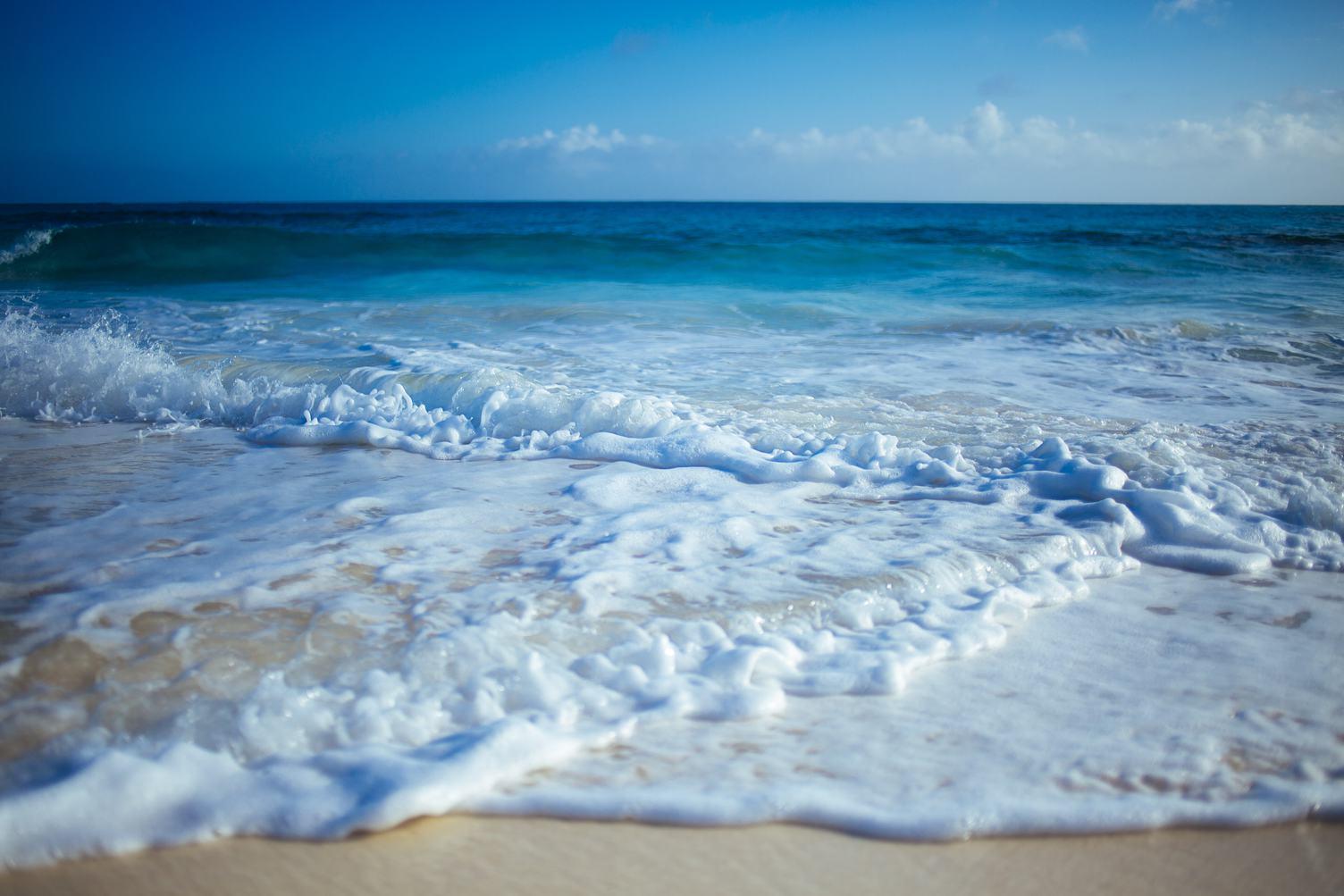 Ocean Waves Closeup of Clear Blue Water