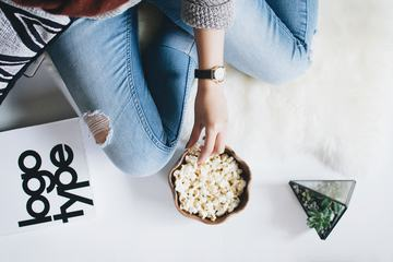 Woman Eating Popcorn