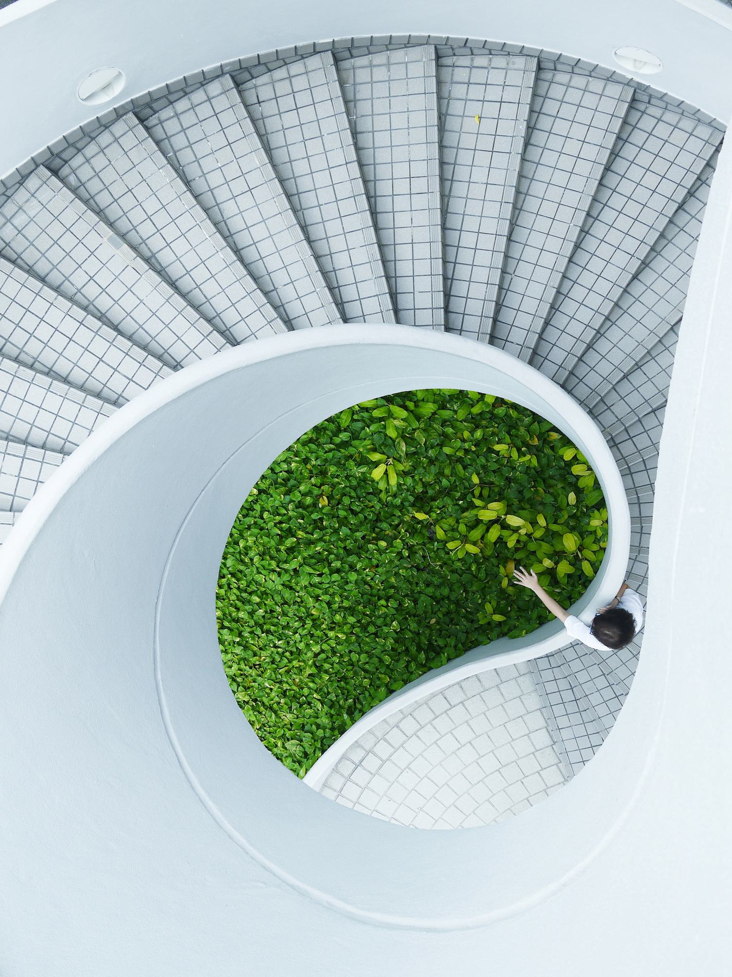 White Modern Spiral Staircase in Singapore