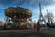 Carousel in Paris with Eiffel Tower in Background