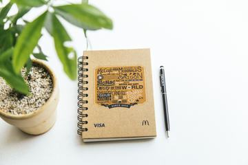 Top View Image of Notebook, Pen and Plant