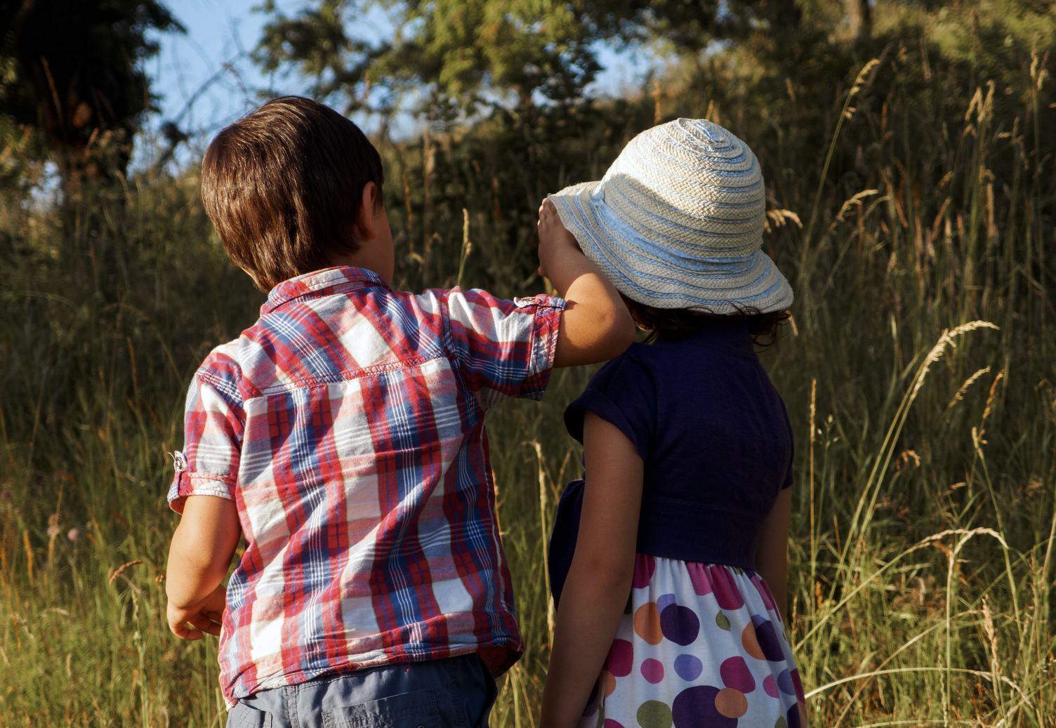 Siblings Playing in the Meadow