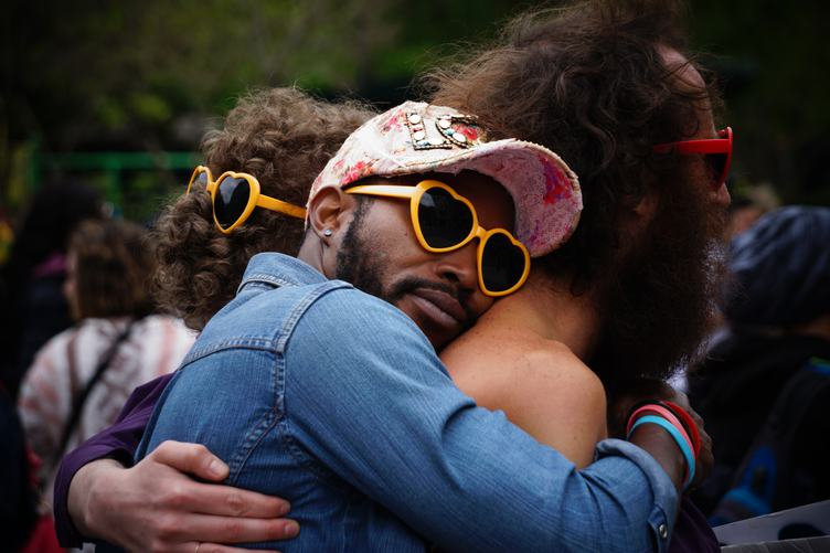 Hugged Guys with Heart-Shaped Glasses