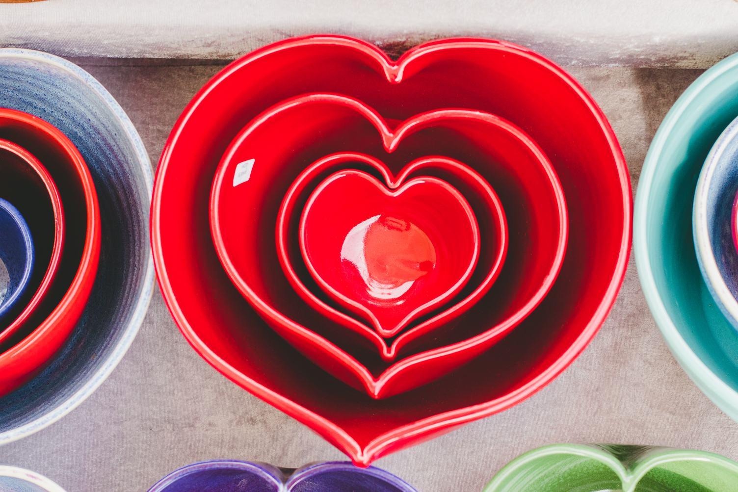 Colorful Ceramic Hearts