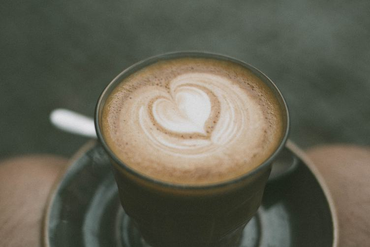 Top View of Hot Cappuccino Coffee with Latte Art Heart Shape