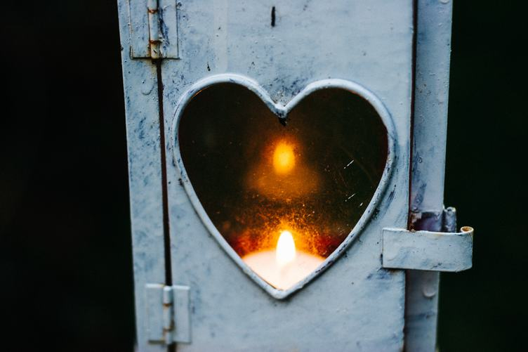 Metal Lantern with a Heart Cutout