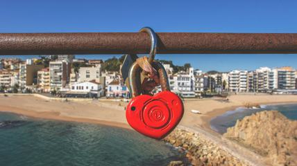 Red Padlock in Hart Shape