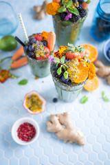 Vegan Smoothie Garnish with Fruits and Flowers
