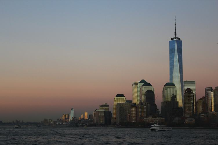 New York City Skyline with at Sunset