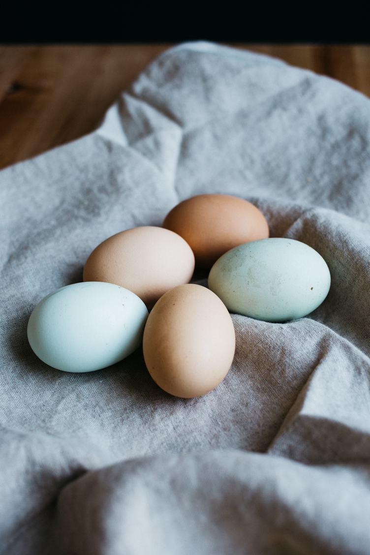 Eggs on Linen Fabric