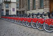 Rental City Bikes in a Row