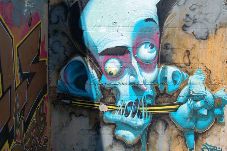 Blue Face Graffiti