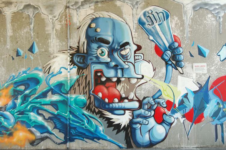 Blue Man Graffiti